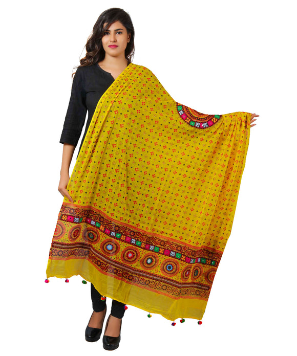 Banjara India Women's Pure Cotton Real Mirrorwork & Hand Embroidery Dupatta (Kutchi Chakkar) Lemon Yellow - CKR08