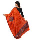Banjara India Women's Pure Cotton Real Mirrorwork & Hand Embroidery Dupatta (Kutchi Chakkar) Tangy Orange - CKR11