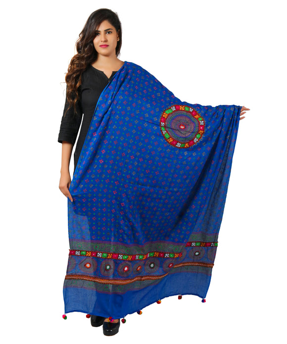 Banjara India Women's Pure Cotton Real Mirrorwork & Hand Embroidery Dupatta (Kutchi Chakkar) Blue - CKR12