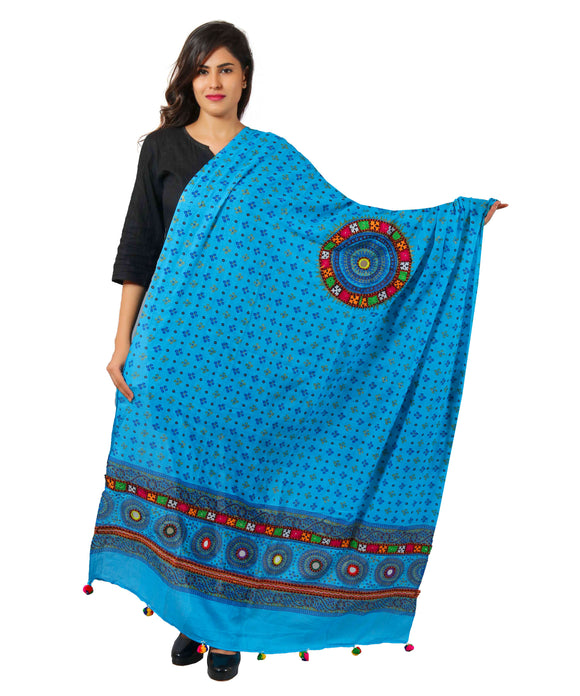 Banjara India Women's Pure Cotton Real Mirrorwork & Hand Embroidery Dupatta (Kutchi Chakkar) Turquoise - CKR13