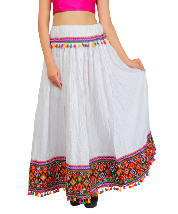 White Kutchi Embroidered Border Rayon Skirt/Chaniya by Banjara India