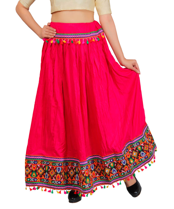 Pink Kutchi Embroidered Border Rayon Skirt/Chaniya by Banjara India