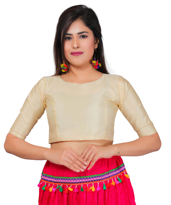 Banjara India Women's Dupion Silk Half Sleeves Kutchi Blouse-Beige