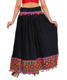 Black Kutchi Embroidered Border Rayon Skirt/Chaniya by Banjara India