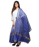 Banjara India Women's Banarasi Kora Silk Cross Butti Dupatta- Blue
