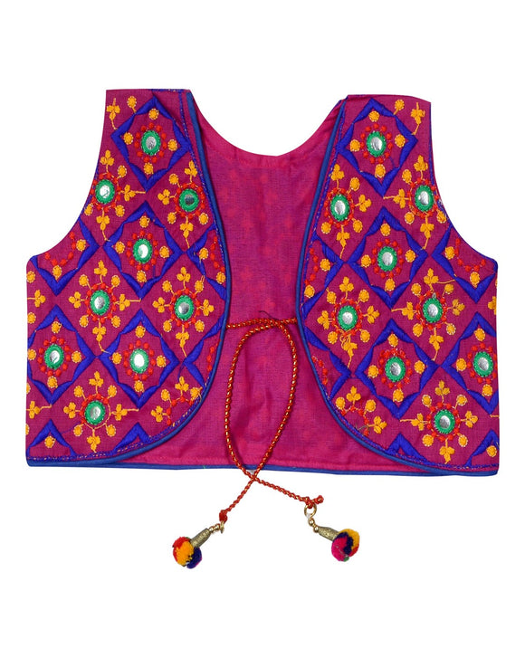 Banjara India Sleeveless Corona Kids Embroidered Ethnic Jacket - Pink