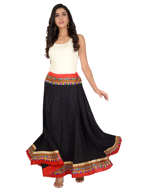 Banjara India Dots Print & Kutchi Embroidered Border Cotton Skirt/Chaniya - DotsSkirt-Black