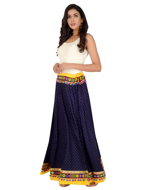 Banjara India Dots Print & Kutchi Embroidered Border Cotton Skirt/Chaniya - DotsSkirt-NavyBlue