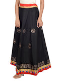 Banjara India Gotta Work Long Flair Cotton Skirt/Chaniya - GotaSkirt-Black