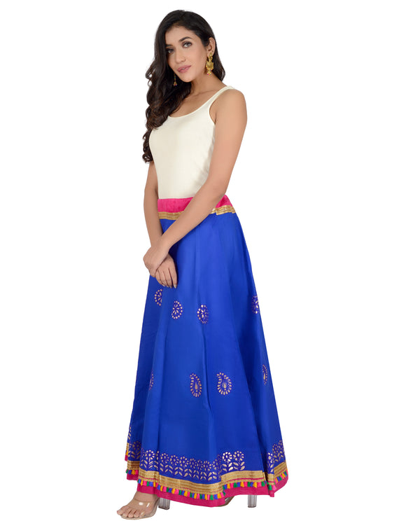 Banjara India Gotta Work Long Flair Cotton Skirt/Chaniya - GotaSkirt-Blue