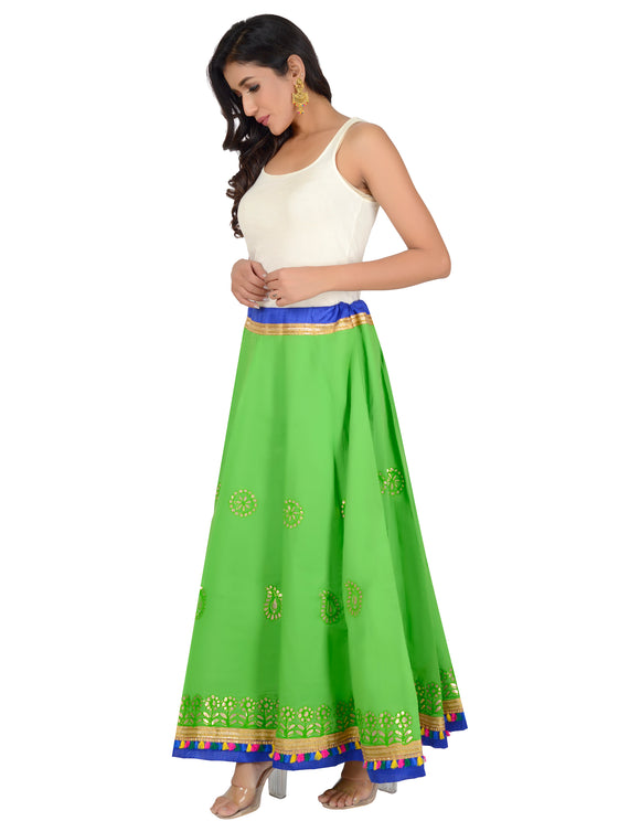 Banjara India Gotta Work Long Flair Cotton Skirt/Chaniya - GotaSkirt-Green