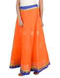 Banjara India Gotta Work Long Flair Cotton Skirt/Chaniya - GotaSkirt-Orange