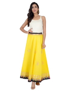 Banjara India Gotta Work Long Flair Cotton Skirt/Chaniya - GotaSkirt-Yellow