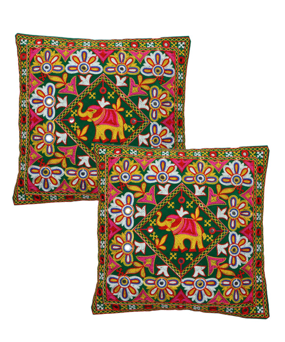 Banjara India Kutch Work Cotton Handicraft Embroidered Cushion Covers 16x16 inches - Pack of 2- Green