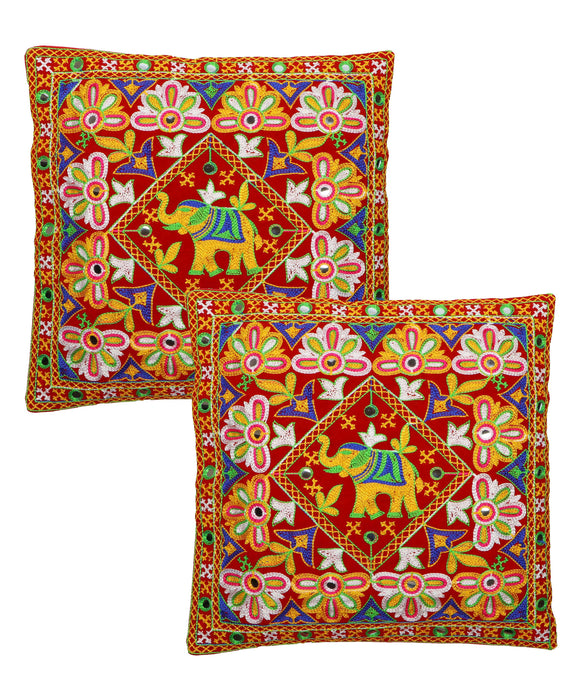 Banjara India Kutch Work Cotton Handicraft Embroidered Cushion Covers 16x16 inches - Pack of 2- Red