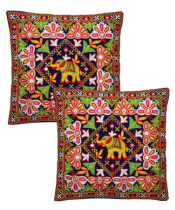 Banjara India Kutch Work Cotton Handicraft Embroidered Cushion Covers 16x16 inches - Pack of 2- Blue