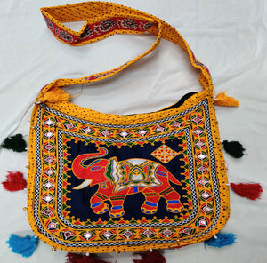 Banjara India Cotton Kutchi Embroidered Haathi Bag-Yellow