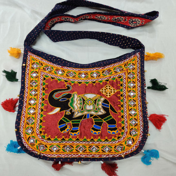 Banjara India Cotton Kutchi Embroidered Haathi Bag-Blue