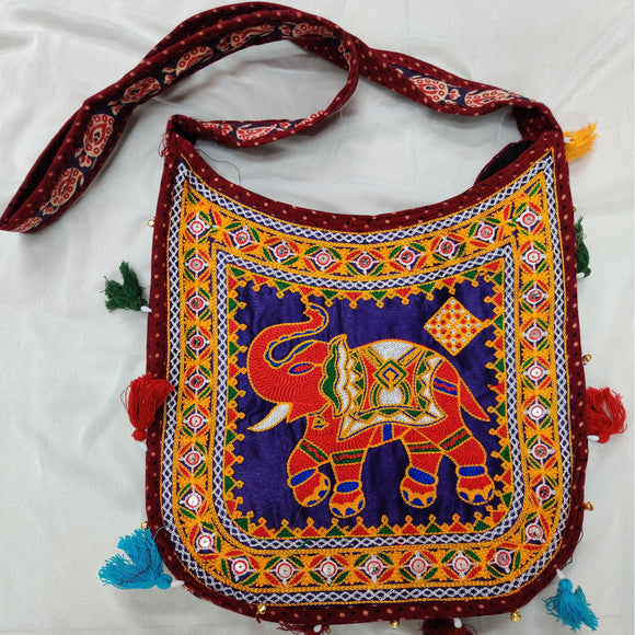 Banjara India Cotton Kutchi Embroidered Haathi Bag-Maroon