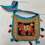 Banjara India Cotton Kutchi Embroidered Haathi Bag-Turquoise Blue