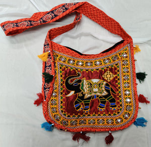 Banjara India Cotton Kutchi Embroidered Haathi Bag-Orange