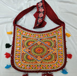Banjara India Cotton Kutchi Embroidered Flower Bag-Maroon