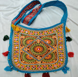 Banjara India Cotton Kutchi Embroidered Flower Bag-Turquoise Blue