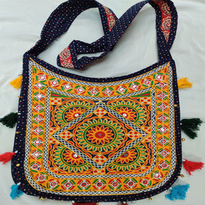 Banjara India Cotton Kutchi Embroidered Flower Bag- Navy Blue