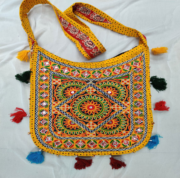 Banjara India Cotton Kutchi Embroidered Flower Bag-Yellow