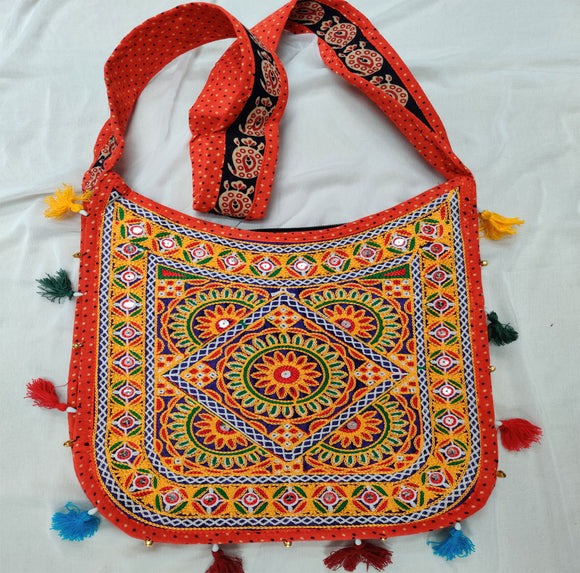 Banjara India Cotton Kutchi Embroidered Flower Bag- Orange