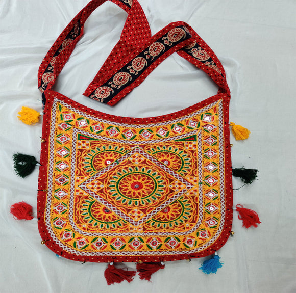 Banjara India Cotton Kutchi Embroidered Flower Bag-Red