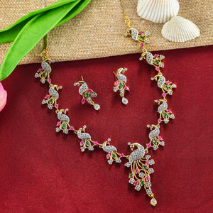 Charms Designer Gold Plated Peacock Jewellery Set for Women NECK-23