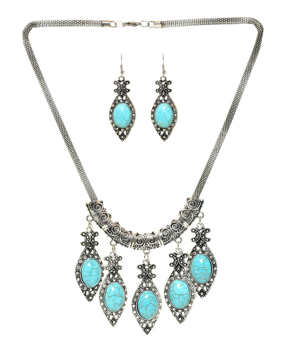 Sky Blue Stone Studded Metallic Set-3-J011