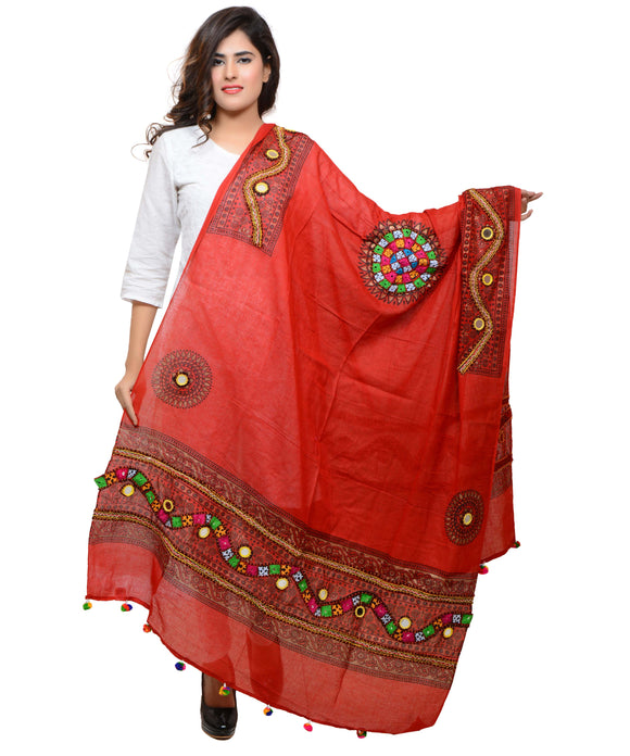 Banjara India Women's Pure Cotton Real Mirrorwork & Hand Embroidery Dupatta (Kuchi Lehriya) Red - KCH03