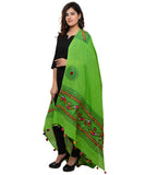 Banjara India Women's Pure Cotton Real Mirrorwork & Hand Embroidery Dupatta (Kuchi Lehriya) Parrot Green - KCH06