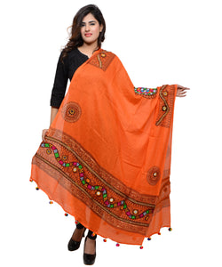Banjara India Women's Pure Cotton Real Mirrorwork & Hand Embroidery Dupatta (Kuchi Lehriya) Tangy Orange - KCH11
