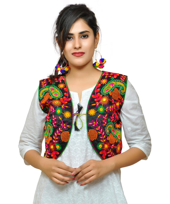 Banjara India Women's Cotton Blend Kutchi Embroidered Sleeveless Short Jacket/Koti/Shrug (Keri Allover) BLACK - KJK01