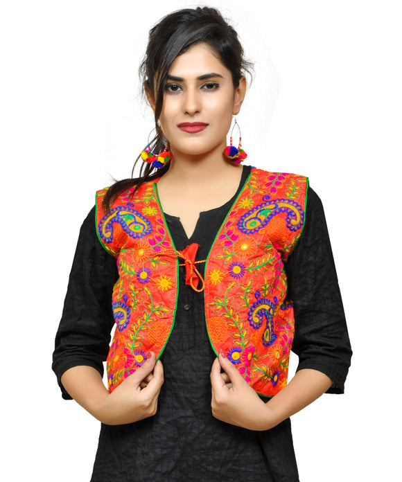 Womens Keri Allover Kutchi Embroidered Jacket-Red
