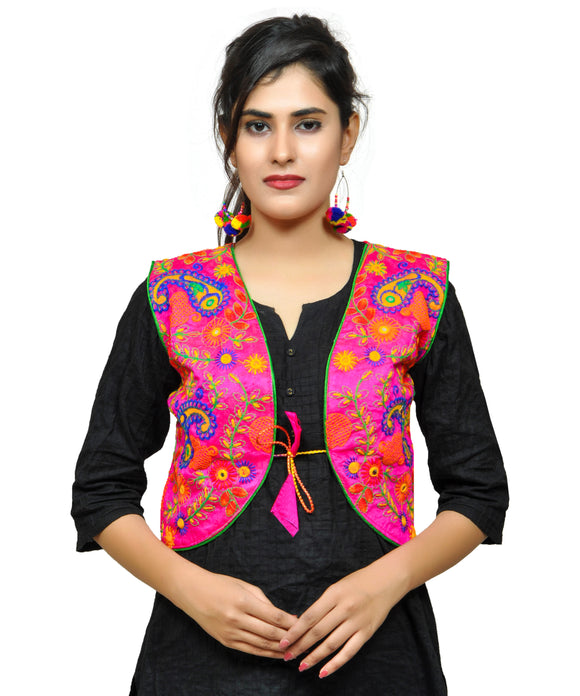 Banjara India Women's Cotton Blend Kutchi Embroidered Sleeveless Short Jacket/Koti/Shrug (Keri Allover) PINK - KJK06