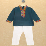 Banjara India Kutchi Emboidered Kurta Pajama for Boys - Teal