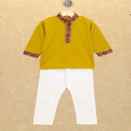 Banjara India Kutchi Emboidered Kurta Pajama for Boys - Mustard