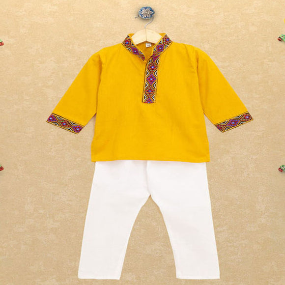 Banjara India Kutchi EmboideYellow Kurta Pajama for Boys - Yellow