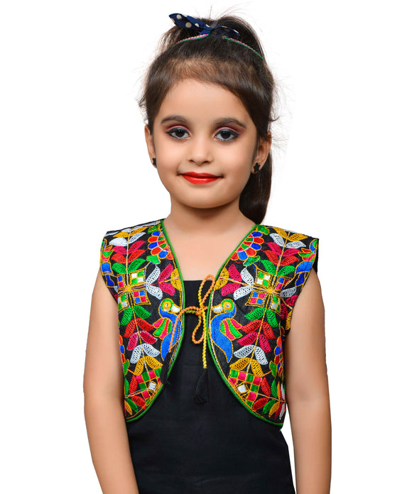 Black P. Cock Embroidered Jacket For Kids