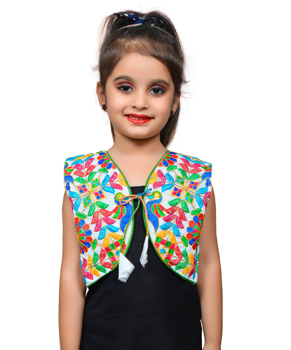 White P. Cock Embroidered Jacket For Kids