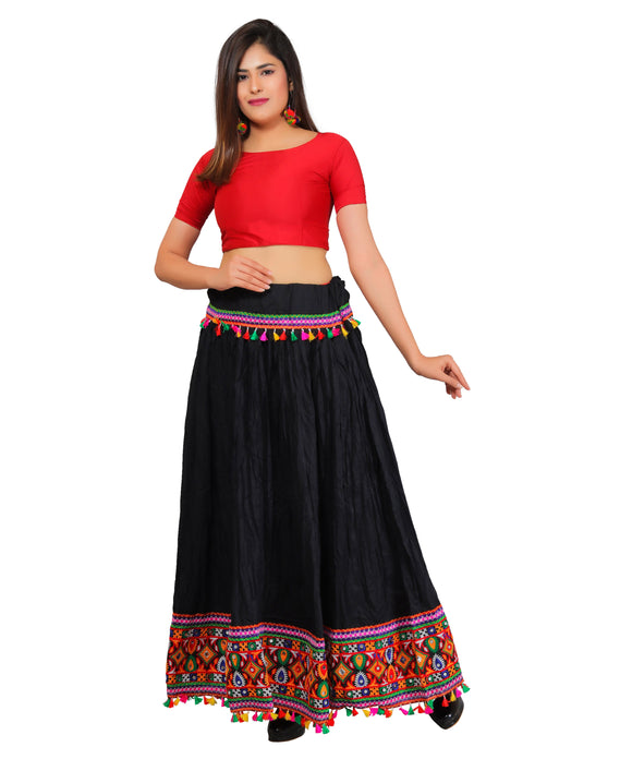Banjara India Kutchi Embroidered Border Rayon Skirt/Chaniya - KutchiSkirt-Black