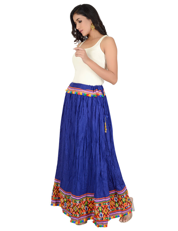 Banjara India Kutchi Embroidered Border Rayon Skirt/Chaniya - KutchiSkirt-Blue