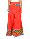 Banjara India Kutchi Embroidered Border Rayon Skirt/Chaniya - KutchiSkirt-Red