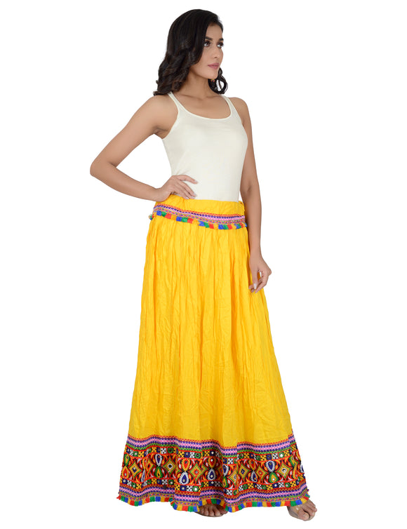 Banjara India Kutchi Embroidered Border Rayon Skirt/Chaniya - KutchiSkirt-Yellow