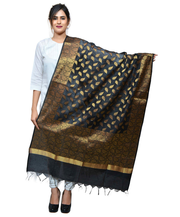 Banjara India Women's Banarasi Kora Silk Zari Dupatta – Leaf-Black
