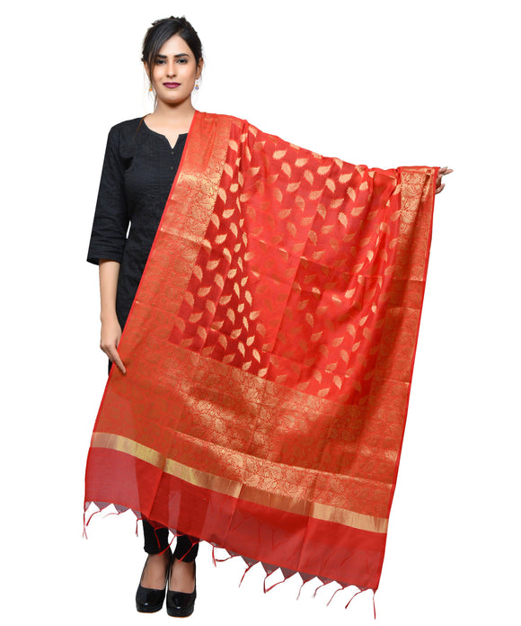 Banjara India Women's Banarasi Kora Silk Zari Dupatta – Leaf- Red